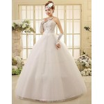 Ball Gown Ankle-length Wedding Dress -Strapless Lace Wedding Dresses