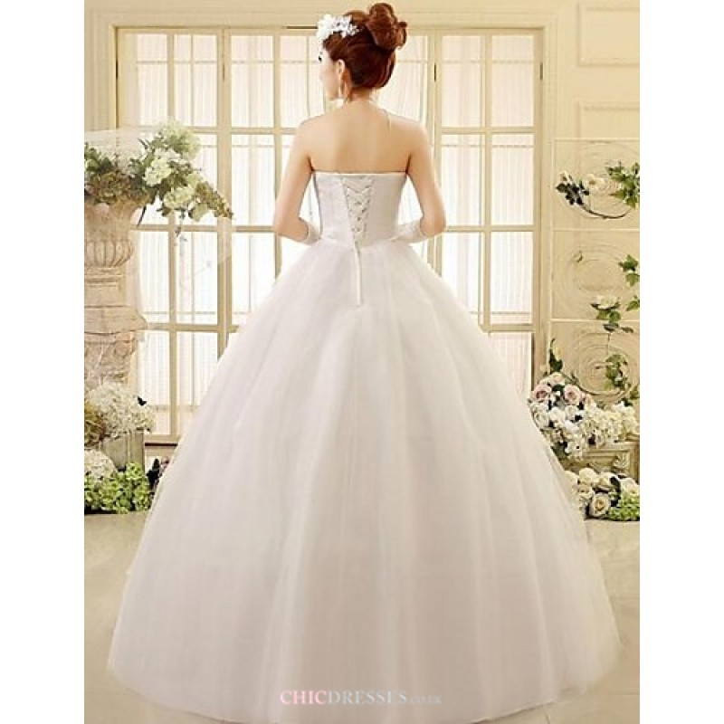 Ball gown ankle length wedding dress strapless lace cheap for Lace ankle length wedding dress