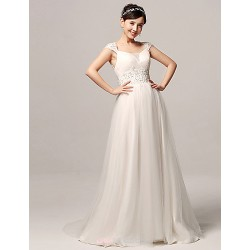 A Line Wedding Dress White Court Train Straps Organza