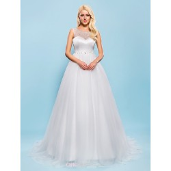 Ball Gown Plus Sizes Wedding Dress Ivory Court Train Scoop Tulle