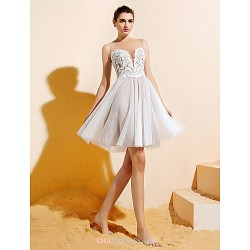 Knee-length Lace / Tulle Bridesmaid Dress - Ivory Plus Sizes / Petite A-line Bateau
