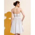 Knee-length Lace / Tulle Bridesmaid Dress - Ivory Plus Sizes / Petite A-line Bateau Wedding Dresses
