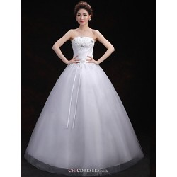 Ball Gown Wedding Dress White Floor Length Strapless Lace Tulle
