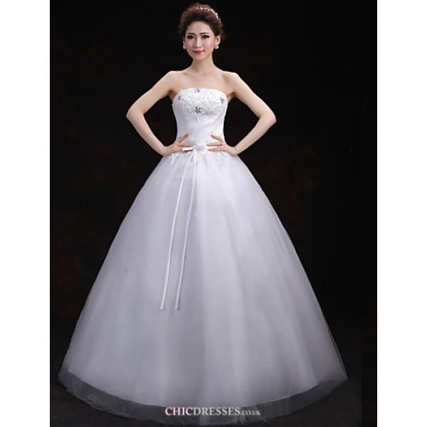 Ball Gown Wedding Dress - White Floor-length Strapless Lace/Tulle Wedding Dresses