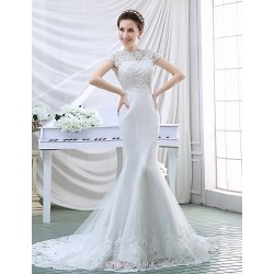 Trumpet Mermaid Wedding Dress White Court Train High Neck Crepe Lace