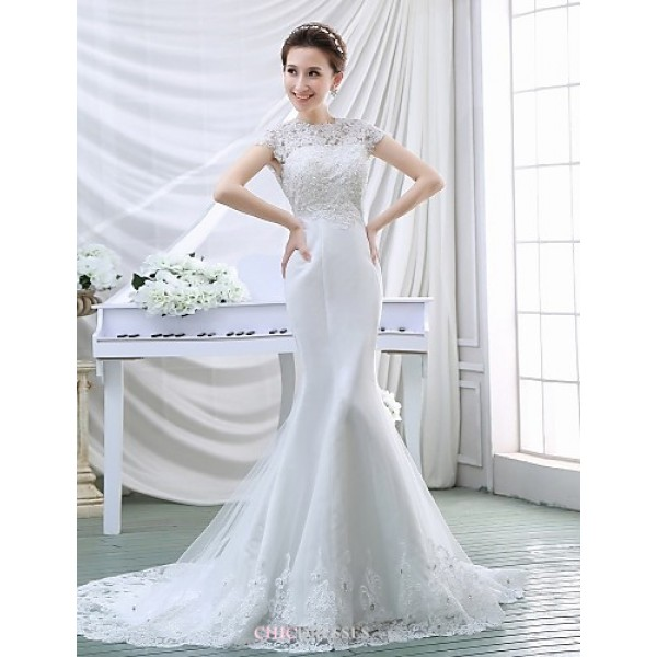 Trumpet/Mermaid Wedding Dress - White Court Train High Neck Crepe/Lace Wedding Dresses