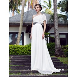 A Line Plus Sizes Wedding Dress Ivory Sweep Brush Train One Shoulder Georgette Stretch Satin