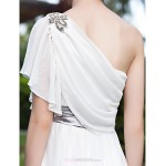 A-line Plus Sizes Wedding Dress - Ivory Sweep/Brush Train One Shoulder Georgette/Stretch Satin Wedding Dresses