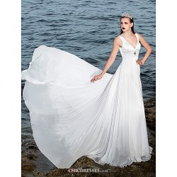 A Line Wedding Dress Ivory Sweep Brush Train V Neck Chiffon Satin