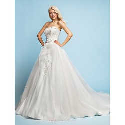 A-line/Princess Wedding Dress - Ivory Court Train Sweetheart Satin/Tulle/Lace