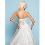 A-line/Princess Wedding Dress - Ivory Court Train Sweetheart Satin/Tulle/Lace Wedding Dresses