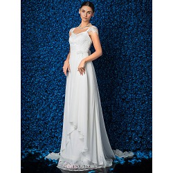 Sheath Column Wedding Dress Ivory Court Train V Neck Chiffon Lace