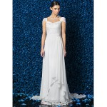 Sheath/Column Wedding Dress - Ivory Court Train V-neck Chiffon/Lace Wedding Dresses