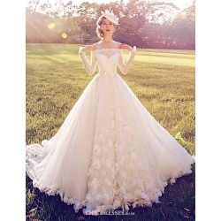 Ball Gown Wedding Dress White Court Train Off The Shoulder Lace