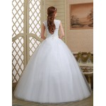 Ball Gown Wedding Dress - White Floor-length V-neck Lace/Tulle Wedding Dresses