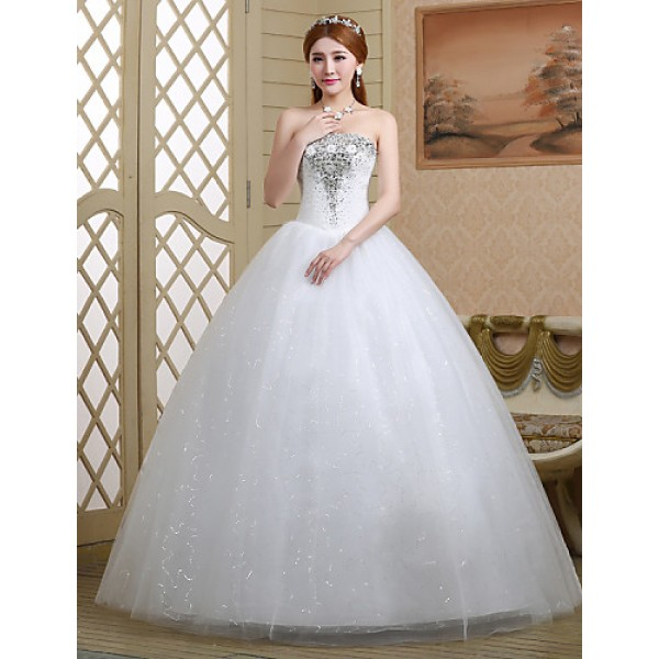 Ball Gown Wedding Dress - White Floor-length Strapless Lace/Tulle Wedding Dresses