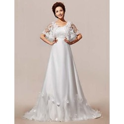 A-line Court Train Wedding Dress -Straps Lace