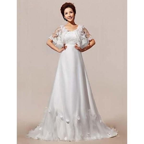 A-line Court Train Wedding Dress -Straps Lace Wedding Dresses