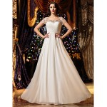 A-line Wedding Dress - Ivory Floor-length Scoop Chiffon Wedding Dresses