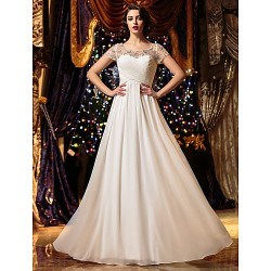 A Line Wedding Dress Ivory Floor Length Scoop Chiffon