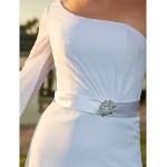 Sheath/Column Plus Sizes Wedding Dress - Ivory Sweep/Brush Train One Shoulder Chiffon Wedding Dresses