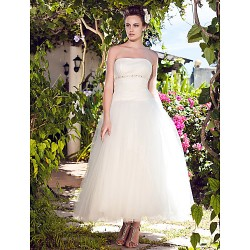 Ball Gown Plus Sizes Wedding Dress Ivory Ankle Length Strapless Tulle