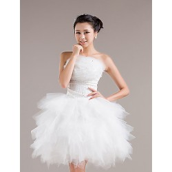 Dress Ivory Ball Gown Strapless Knee Length Tulle