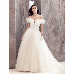 A Line Wedding Dress Ivory Sweep Brush Train Off The Shoulder Tulle