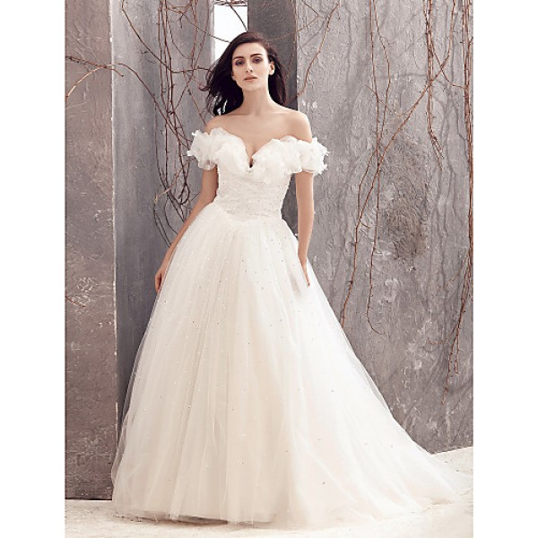A-line Wedding Dress - Ivory Sweep/Brush Train Off-the-shoulder Tulle Wedding Dresses