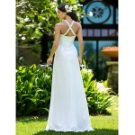 Sheath/Column Plus Sizes Wedding Dress - Ivory Sweep/Brush Train Jewel Chiffon Wedding Dresses