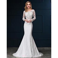 Trumpet Mermaid Wedding Dress White Sweep Brush Train Scoop Lace Satin