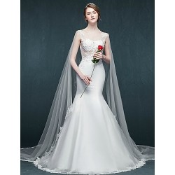 Trumpet/Mermaid Wedding Dress - White Cathedral Train Scoop Tulle