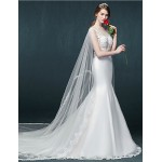 Trumpet/Mermaid Wedding Dress - White Cathedral Train Scoop Tulle Wedding Dresses
