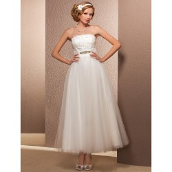 A-line/Princess Plus Sizes Wedding Dress - Ivory Ankle-length Strapless Tulle