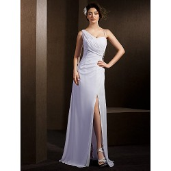 Sheath Column Wedding Dress White Floor Length Straps Chiffon