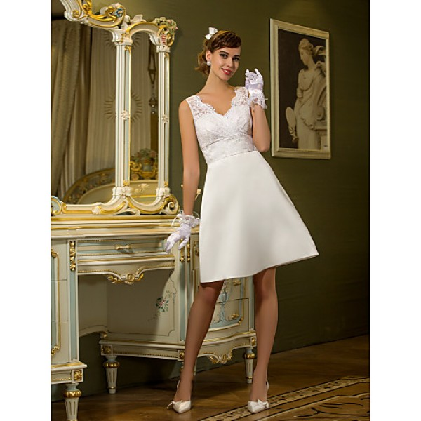 Sheath/Column Plus Sizes Wedding Dress - Ivory Knee-length Queen Anne Satin/Lace Wedding Dresses
