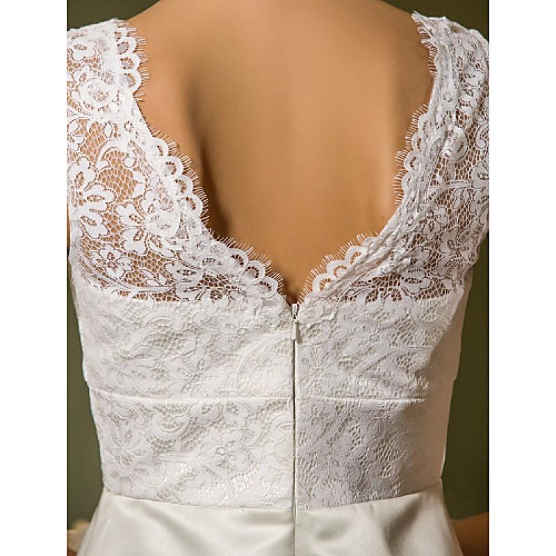 Sheath column plus sizes wedding dress ivory knee length for Ivory knee length wedding dresses