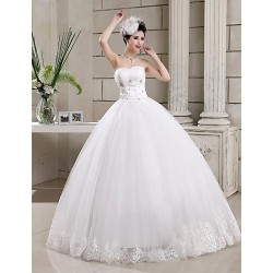 Ball Gown Floor Length Wedding Dress Sweetheart Tulle
