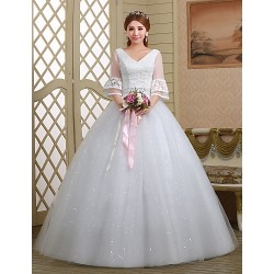 Ball Gown Wedding Dress White Floor Length V Neck Lace Tulle