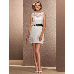Sheath Column Plus Sizes Wedding Dress White Short Mini Bateau Lace