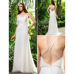 Sheath/Column Plus Sizes Wedding Dress - Ivory Sweep/Brush Train Spaghetti Straps Chiffon