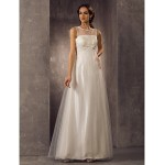 A-line Plus Sizes Wedding Dress - Ivory Floor-length Scoop Tulle Wedding Dresses