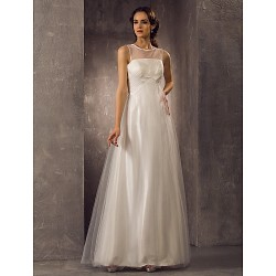 A-line Plus Sizes Wedding Dress - Ivory Floor-length Scoop Tulle