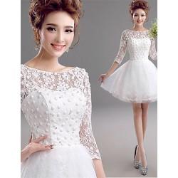 A Line Short Mini Wedding Dress Bateau Lace