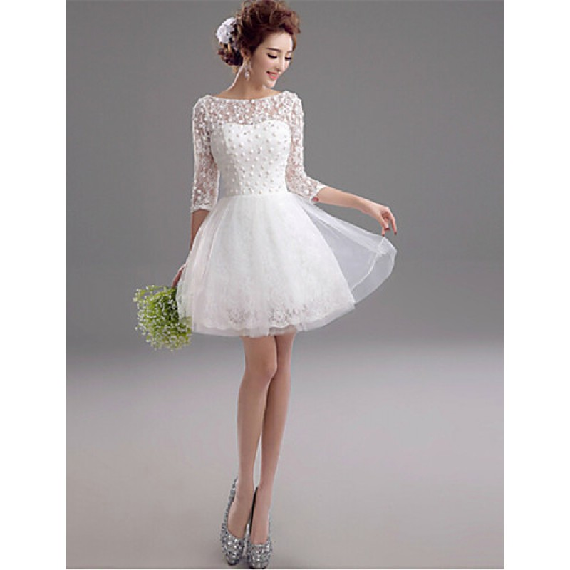 fb47a980c9c8 ... A-line Short/Mini Wedding Dress - Bateau Lace Wedding Dresses ...