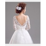 A-line Short/Mini Wedding Dress - Bateau Lace Wedding Dresses