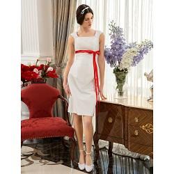 A Line Princess Plus Sizes Wedding Dress Ivory Knee Length Square Taffeta