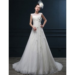 A-line Wedding Dress - Ivory Court Train Jewel Lace