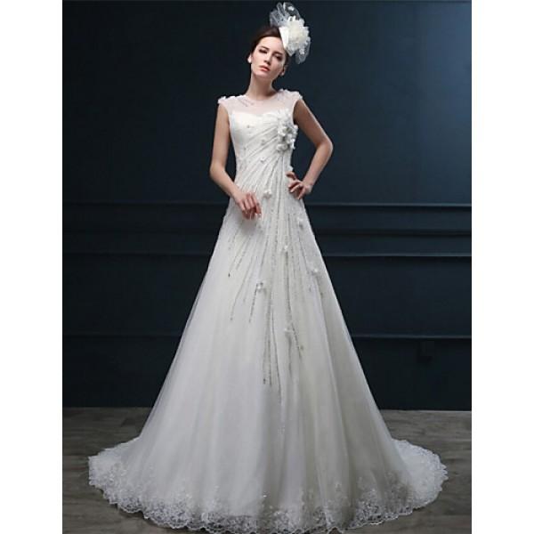 A-line Wedding Dress - Ivory Court Train Jewel Lace Wedding Dresses