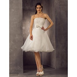 A Line Princess Plus Sizes Wedding Dress Ivory Knee Length Scalloped Edge Organza Lace